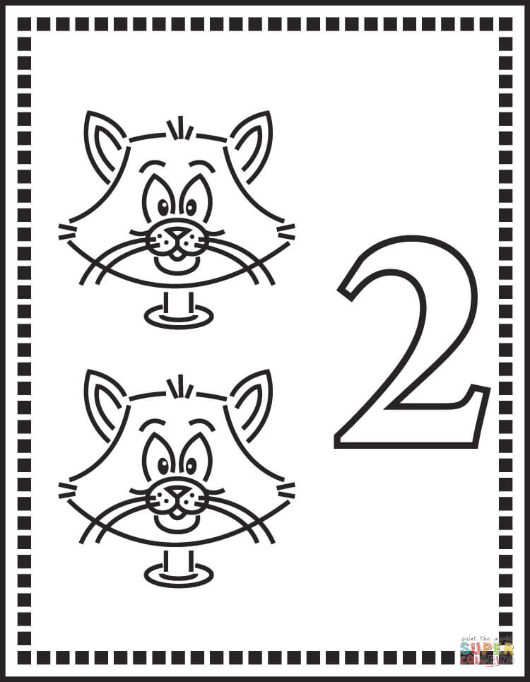 number 2 or two cats coloring page  free printable