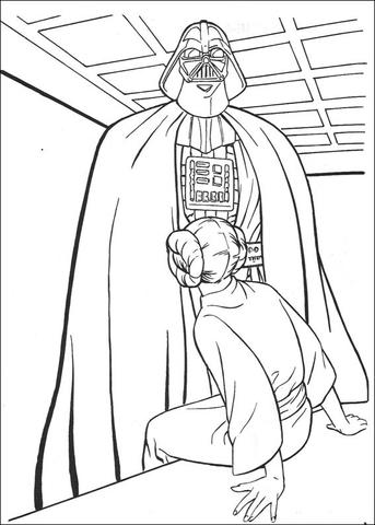 darth vader and princess leia coloring page free printable