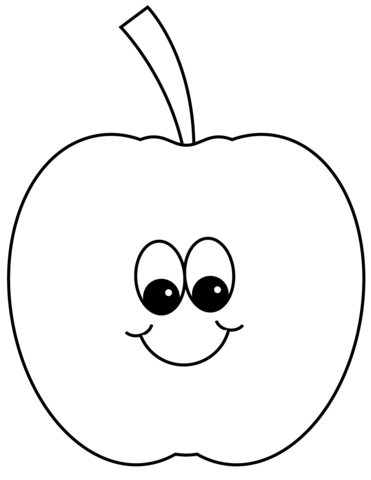 Smiling Apple Coloring Page Free Printable Coloring Pages