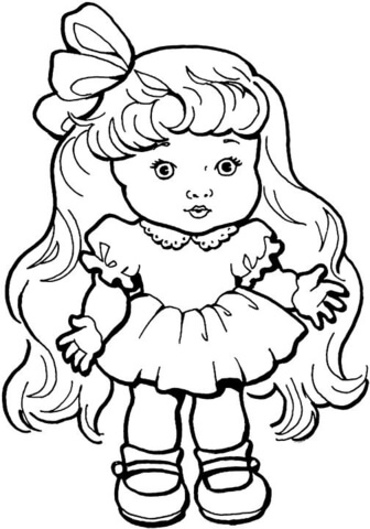 girl doll with long hair coloring page free printable coloring pages