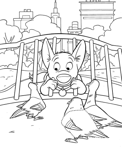 bolt is asking doves where is penny coloring page free printable