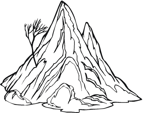 coloring pages printable mountains and trees # 7