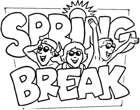 spring break coloring page free printable coloring pages