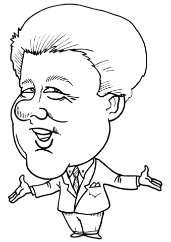 Bill Clinton Caricature Coloring Page Free Printable
