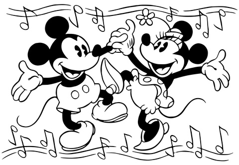 Minnie And Mickey Mouse Are Dancing Coloring Page Free Printable Coloring Pages