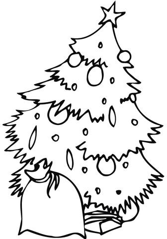 Ausmalbild Geschmckter Weihnachtsbaum Mit Sack