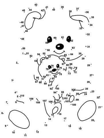 click to see printable version of bear daddy with bear child dot to
