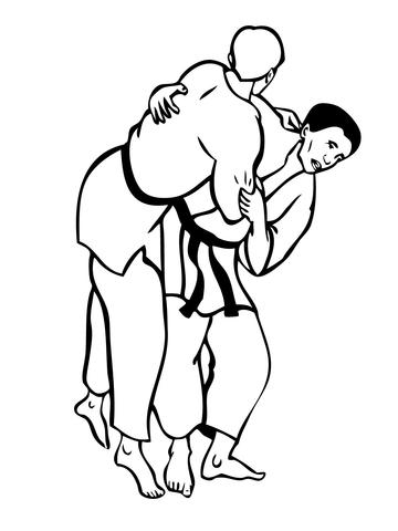 combat de judo coloriage supercoloring com
