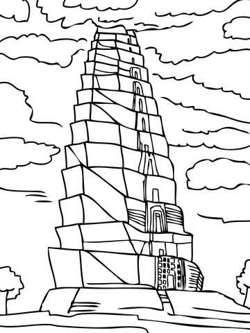 tower of babel coloring page # 9