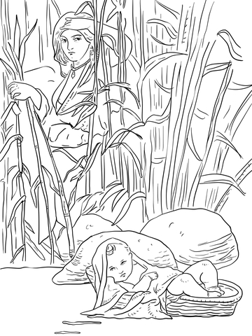 miriam and baby moses coloring page free printable coloring pages