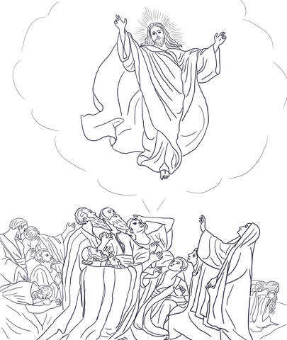jesus ascends to heaven coloring page free printable coloring pages