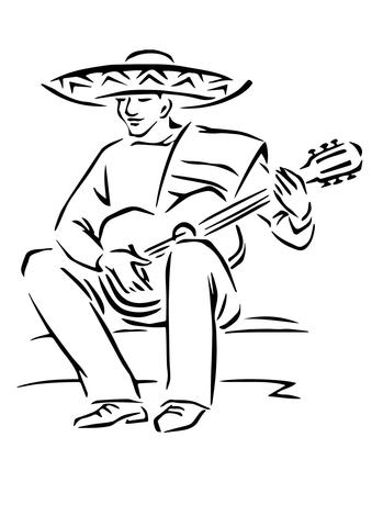 Coloriage Guitariste Mexicain Coloriages Imprimer
