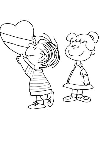 Charlie Brown Valentine Coloring Page Free Printable