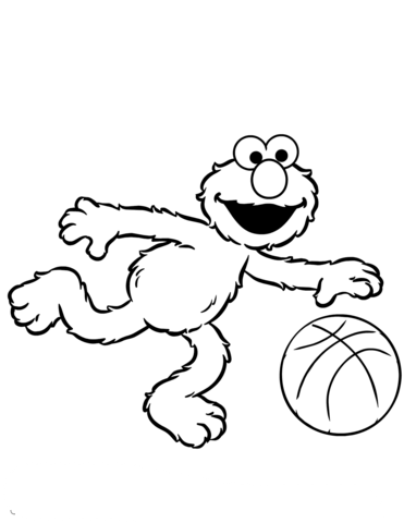 Elmo Plays Basketball Coloring Page Free Printable Pages