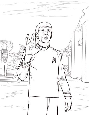 Ausmalbild Raumschiff Enterprise Mr Spock