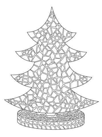 christmas tree mosaic coloring page free printable coloring pages