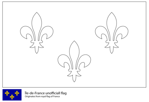 click to see printable version of flag of Île de france coloring page