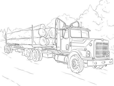 log truck coloring page free printable coloring pages