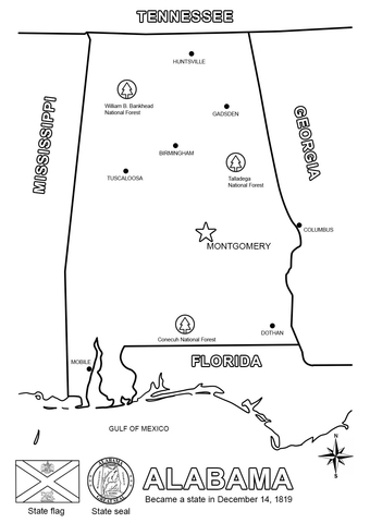 Alabama Map Coloring Page Free Printable Coloring Pages