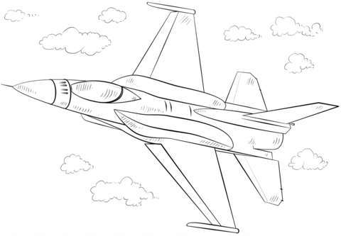 Click To See Printable Version Of F 16 Fighting Falcon Fighter Coloring Page