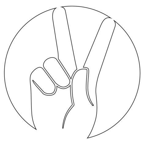 peace gesture coloring page free printable coloring pages