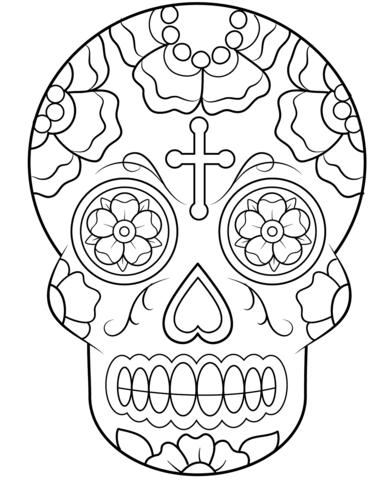 zuckerschädel ausmalbilder kostenlos zum calavera coloring page