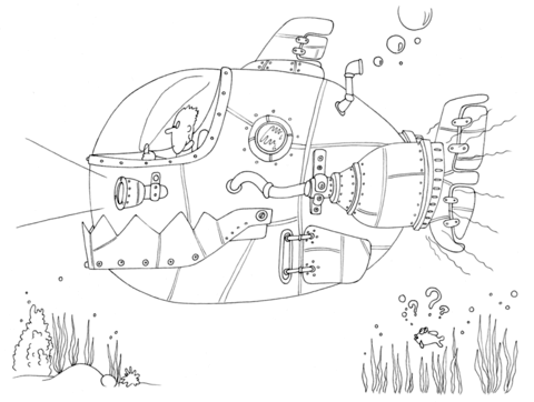 my little boat steampunk submarine coloring page free