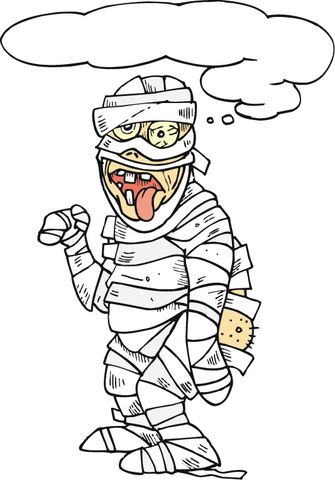 Scary Mummy With His Tongue Hanging Out Coloring Page
