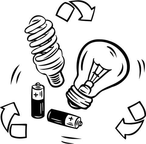battery and bulb recycling coloring page free printable coloring