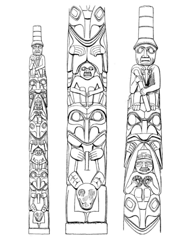 totem poles coloring page free printable coloring pages