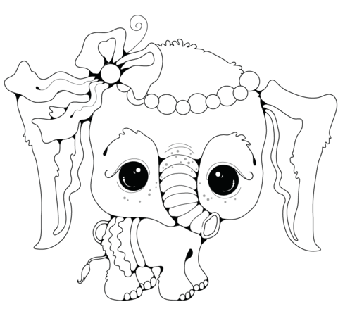 baby elephant girl coloring page free printable coloring pages