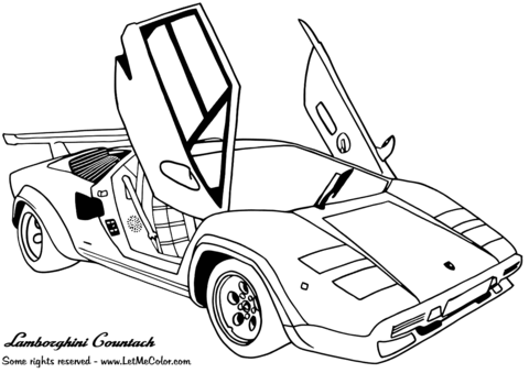 Lamborghini Countach Coloring Page Free Printable Coloring Pages
