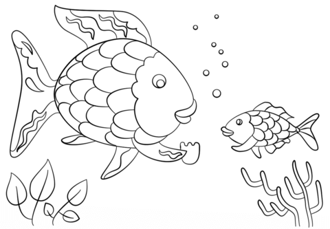 rainbow fish gives a precious scales to small fish coloring page png