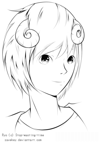 ryo anime boy by zavekey coloring page free printable coloring pages