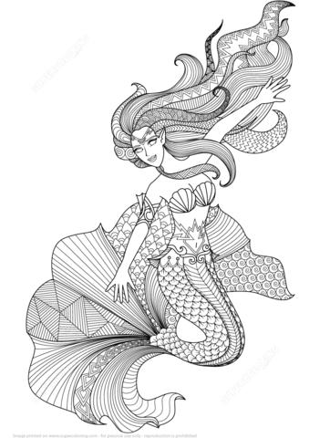 Ausmalbild Meerjungfrau Zentangle Ausmalbilder