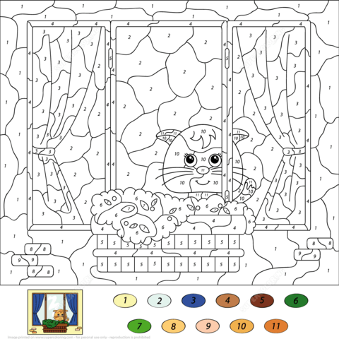 cat color by number coloring page free printable coloring pages