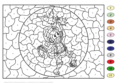 christmas monkey color by number coloring page free printable
