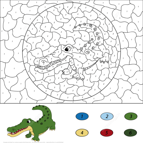 crocodile color by number coloring page free printable coloring