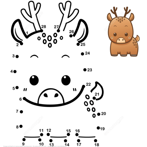 cute baby deer dot to dot free printable coloring pages