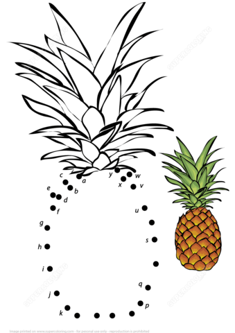 Pineapple With Letters Dot To Dot Free Printable