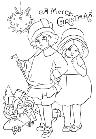 Victorian Christmas Card Coloring Page Free Printable
