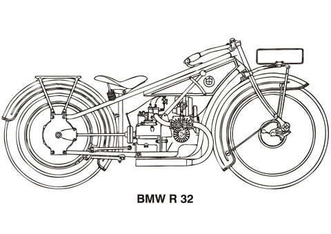 BMW R32 Motorcycle Coloring Page Free Printable Coloring