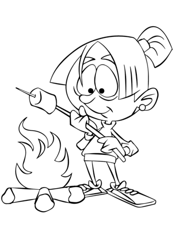 Girl Roasting Marshmallow Over Camp Fire Coloring Page
