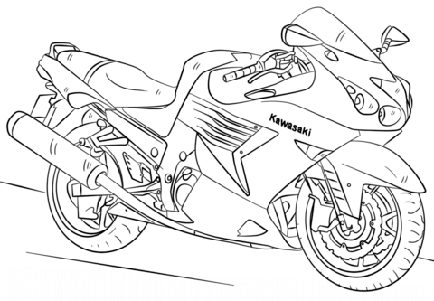 kawasaki motorcycle coloring page free printable coloring pages