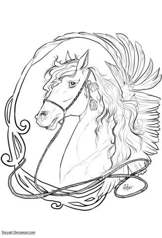 Art Nouveau Horse Coloring Page Free Printable Coloring