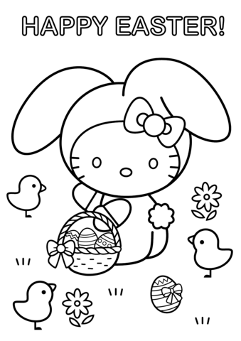 Hello Kitty Happy Easter Coloring Page Free Printable