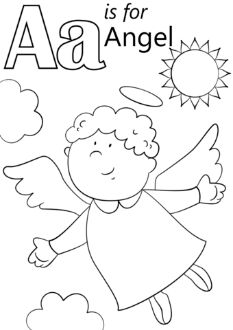 Letter A is for Angel coloring page | Free Printable ...