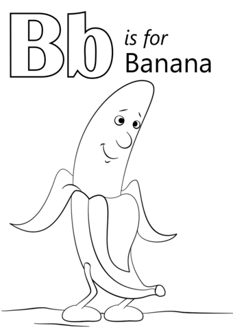 Letter B Is For Banana Coloring Page Free Printable