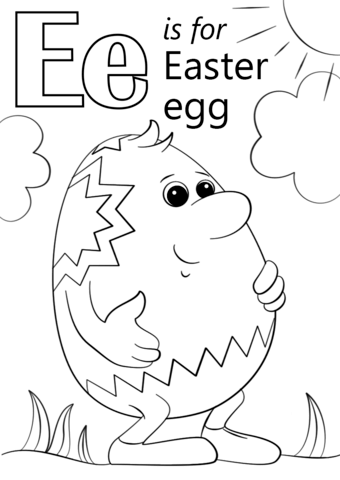 Letter E Is For Easter Egg Coloring Page Free Printable Coloring Pages