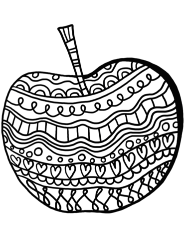 Apple With Pattern Coloring Page Free Printable Coloring